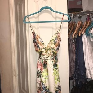 Spaghetti strap open back dress